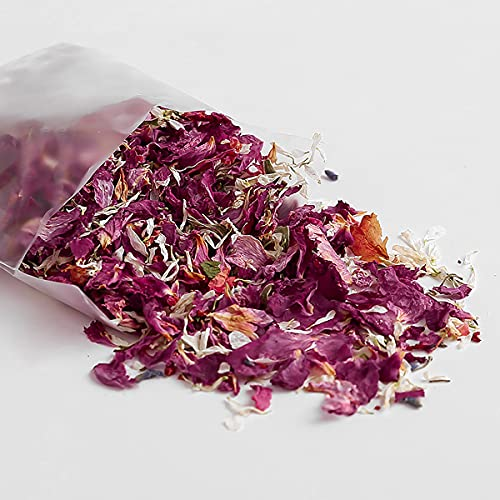 jweemax Dried Rose Petals, Confetti Dried Flowers and Cone Stand Box TrayPetals for Wedding Party Silk Flower Arrangements