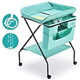 FORSTART Baby Changing Table with Wheels, Adjustable Height Folding Diaper Station Portable Mobile Nursery Organizer with Newborn Clothes & Storage Rack for Infant