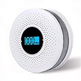 CO Detector, Smoke and Carbon Monoxide Detector Combo with Sound Warning and LCD Display Battery Operated Smoke CO Alarm