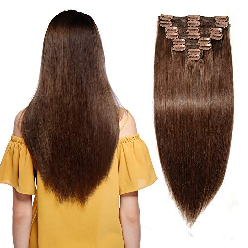 "160g Double Weft Clip in 100% Remy Human Hair Extensions #4 Medium Brown Grade 7A Quality Full Head Thick Thickened Long Soft Silky Straight 8pcs 18clips for Women Fashion 22"" / 22 inch"