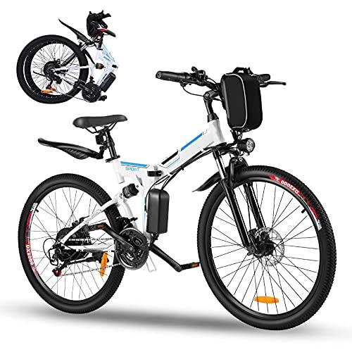 Oppikle E-Bike Bike Mountain Bike Bici Elettrica con Sistema di Cambio a 21 velocità, 250 W, 8 Ah, Batteria agli Ioni di Litio 36 V, City Bike Leggero da 26 Pollici (Aggiorna Il Bianco)
