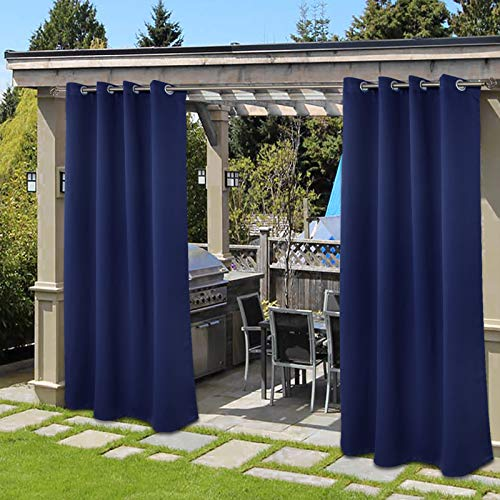 BGment Outdoor Curtains for Patio Rustproof Grommet Waterproof Windproof Thermal Gazebo Curtains Set of 2 Panels ( 52 x 84 Inch, Navy Blue )