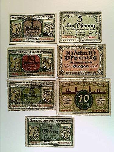 Notgeld, Glogau, Glogow, 1x 1, 2x 5, 3x 10 und 1x 50 Pfennig, 1918/1920