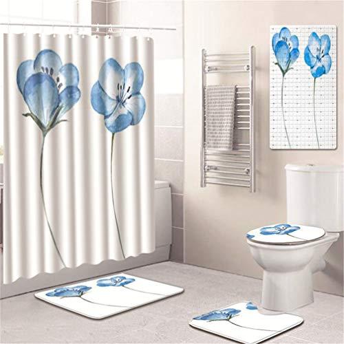 AMON LL 5stks/set bedrukt patroon douchegordijn, voetstuk tapijt deksel wc-deksel mat bad mat set badkamer gordijnen met 12 haken