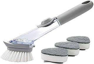 Lixada Kitchen Dish Scrubber Dishwashing Scrubber Sink Brush for Dish Scrub Brush with Soap Handle Dishwasher Brush