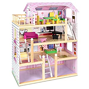 Best Choice Products 4-Level Kids Wooden Mansion, Uptown Dollhouse w/ 13 Furniture Accessories, 4 Rooms, Balcony, Garage - 32.25in
