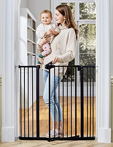 """InnoTruth Extra Tall Baby Gate for Stairs and Doorways, 29""""to 39.6"""" Adjustable Width with 36""""Height,Dog Gate with Wall Pressure Mounted Frame, Auto Close Baby Gates for Toddler and Pet, Black"""