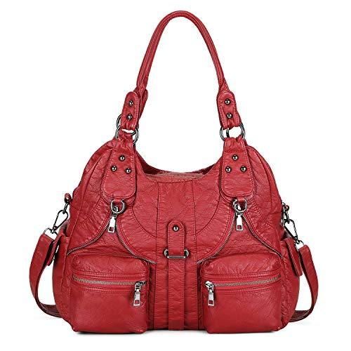 BAIGIO Bolsos de Mujer Bolso de Hombro de Cuero PU Lavadas Suaves para Mujer Gran Capacidad Bolso de Mano con Multitud de Bolsillos con Cremalleras (Rojo-2)