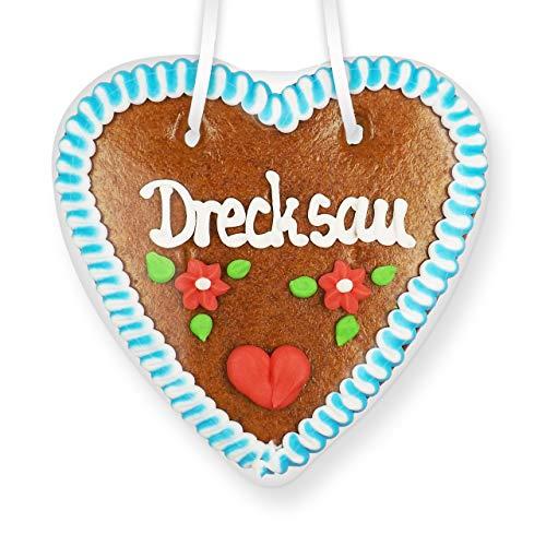 Lebkuchenherz 14cm - Drecksau | Verrückte Deko Idee | Lustige Scherzartikel | Scherzartikel zum Geburtstag | Spaßartikel | Essbare Scherzartikel