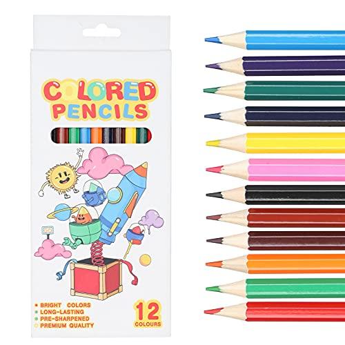 Lápices de colores de madera de 12 piezas, lápiz de dibujo de libro para colorear para niños para la escuela, hogar, niños, pintura, graffiti(Space)