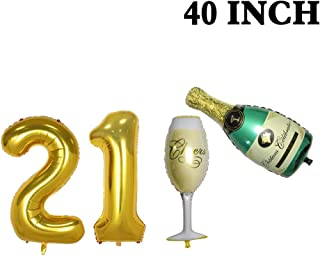 Number 21 Balloons and Champagne Balloons Set - Large, 40 Inch Foil Gold Balloons |Champagne Bottle and Goblet Balloons,40 Inch | 21st Birthday Party Decorations|Party Supplies for Anniversary Decor.
