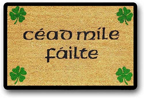 BXBCASEHOMEMAT Céad Míle Fáilte Doormat, A Hundred Thousand Welcomes Doormat, Custom Doormat, Door Decor, Irish Doormat, Shamrocks, Gaelic Doormat 18' x 30'
