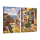 Coastal Town Canvas Painting Artwork: European Seaside Village Hand Painted Wall Art Picture for Bedroom (24'' x 18'' x 2 Panels)