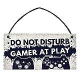 Cartel decorativo para sala de juegos, decoración de madera para videojuegos, no molestar con privacidad, para dormitorio, puerta o sala de juegos, 10 x 20 cm