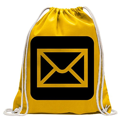Kiwistar - Poststelle Postamt Piktogramme Turnbeutel Fun Rucksack Sport Beutel Gymsack Baumwolle mit Ziehgurt