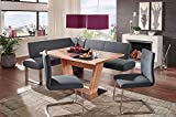 German Furniture Warehouse 4 Piece Dining Set, High End Corner Bench, Safran 200 Breakfast Nook with P120 Dining Table