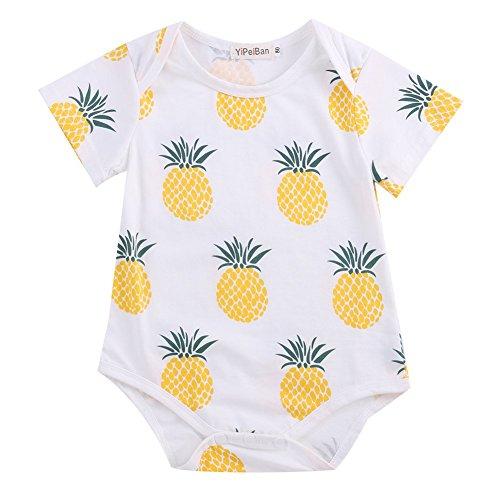 TheFound Newborn Unisex Baby Bodysuit Short Fruit Print Sleeve Romper Shirt One Piece Outfit 6-12M, Pineapple