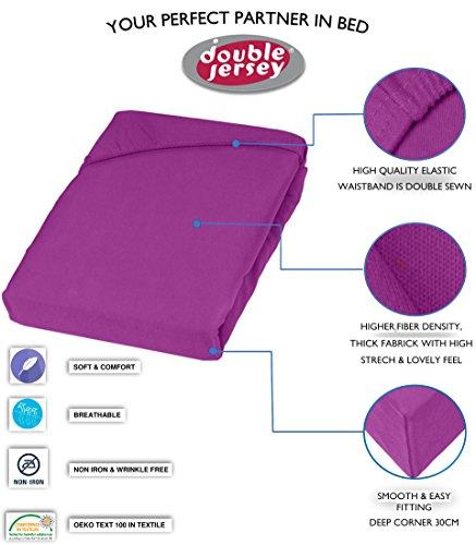 Double Jersey – Spannbettlaken 100% Baumwolle Jersey-Stretch bettlaken, Ultra Weich und Bügelfrei mit bis zu 30cm Stehghöhe, 160x200x30 Prune - 3