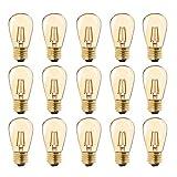 Bombilla LED de filamento vintage, ST45, 1 W, sustituye a bombillas incandescentes de 10 W, luz blanca cálida de 2200K AC 230V E27 base media, cristal dorado, no regulable,15-unidades