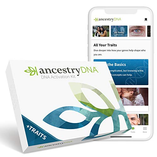 AncestryDNA + Traits: Genetic Ethnicity + Traits Test, AncestryDNA Testing Kit with 25+ Appearance...