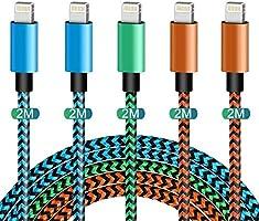 Phone Ladekabel MFi Zertifiziert Phone Schnellladekabel WUYA Lightning Kabel 5 Stück 2m USB Ladekabel Nylon Langes Phone...