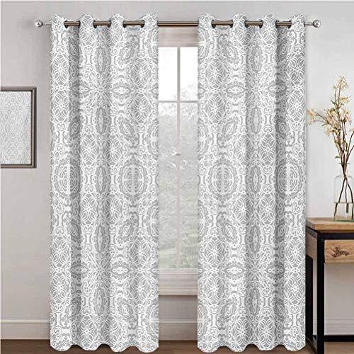Guuvor Grey Room Darkened Insulation Grommet Curtain Lace Victorian Damask Antique Baroque Design With Oriental