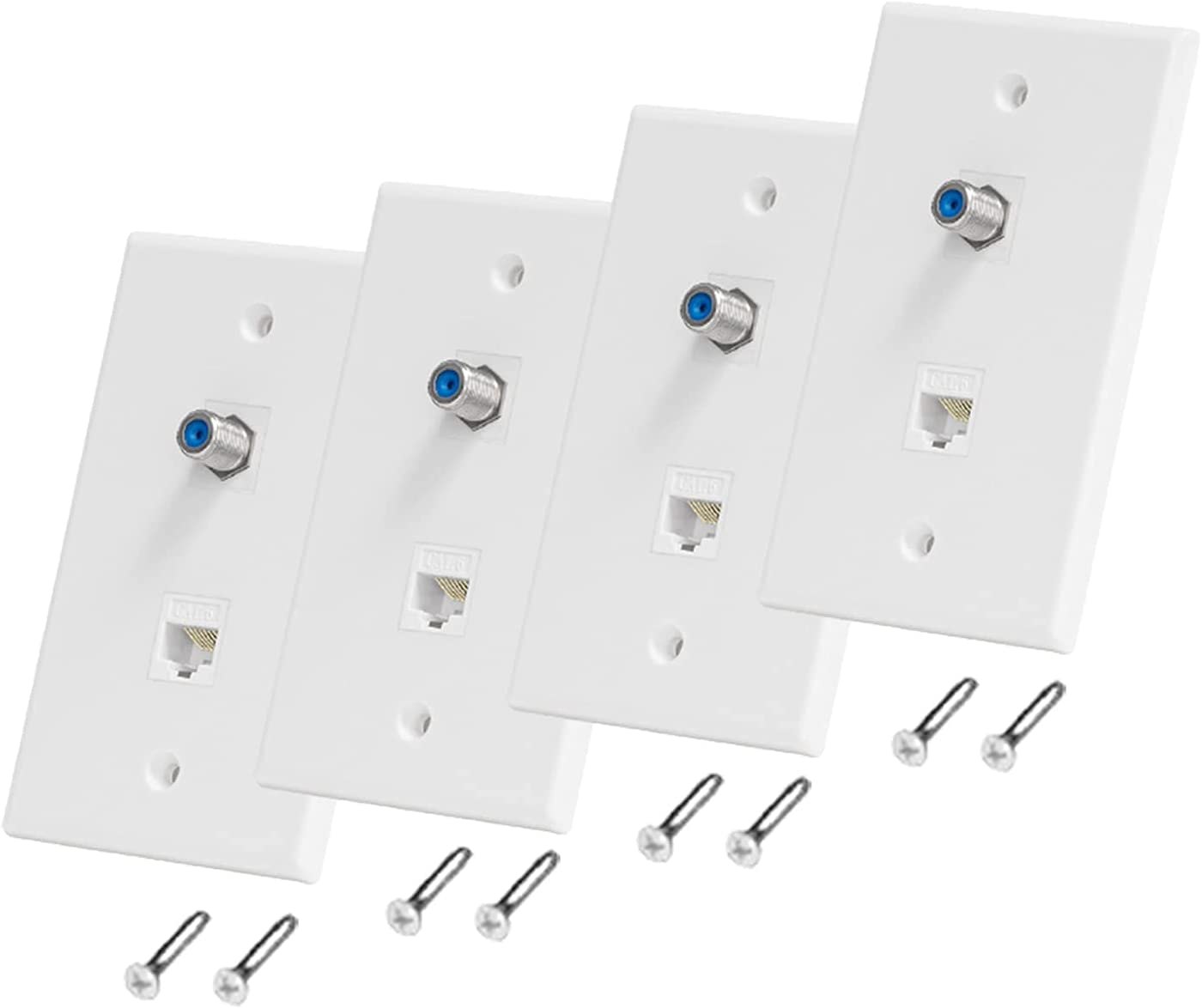 Ethernet Coax Ranking TOP19 Wall Plate Selling rankings 4 Pack Port Cat6 1 and Cable BARDESTU