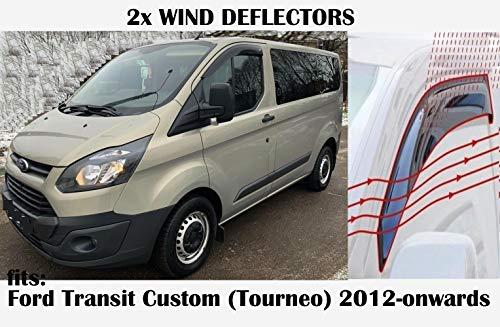 Mrp Windabweiser zum Aufkleben, kompatibel mit Ford Transit Custom Van Crew Cab Mini Van 2012 2013 2014 2015 2016 2017 2018 2019 2020, Seitenscheiben