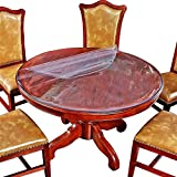 Clear Round Table Protector Round Furniture Protector Circle Clear Plastic Round Tablecloth Vinyl Waterproof Wipeable PVC for Round Dining Table Top Cover Desk Mat Pad 60' 60 Inch 152 CM Diameter