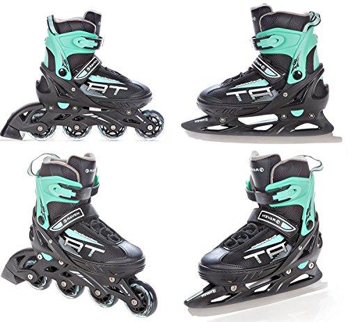 RAVEN 2in1 Schlittschuhe Inline Skates Inliner Profession Black/Mint verstellbar (38-42(24,5cm-27cm))