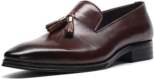 RSHENG schuhe de cuero de los herren Colgante británico borla Vestido de negocios schuhe de cuero de lujo de gama alta Costura de cuero