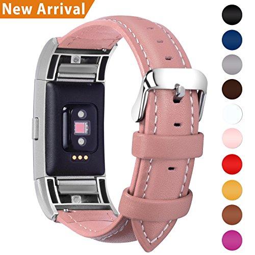 Fullmosa Fitbit Charge 2 Correa, Correa/Pulsera/Banda/Band/Strap para Fitbit Charge 2,Correa de Cuero, de Repuesto con Conector de Acero Inoxidable, Rosa Oscuro