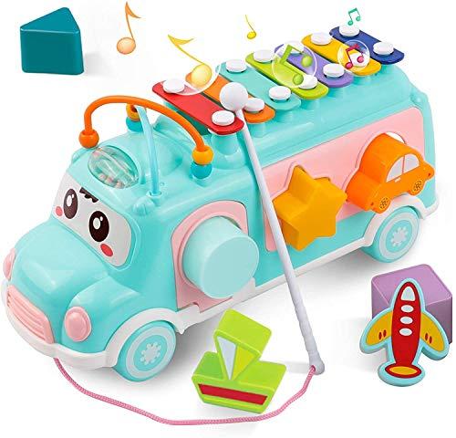 DeeXop Baby Toys 12 Meses Activity Cube Toy Bus Incluye xilófono, clasificador de Formas, Juguetes para Arrastrar, Juguetes educativos para niños pequeños para el Desarrollo Musical y de Formas