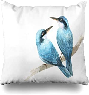 Ahawoso Throw Pillow Cover Close Green Cute Couple Blue Bird Painting Watercolor Natural Draw Nature Bright Love Drawing Design Home Decor Cushion Case Square Size 18