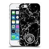Head Case Designs Licenciado Oficialmente Manchester City Man City FC Negro Blanco Mono Insignia de mármol Carcasa de Gel de Silicona Compatible con Apple iPhone 5 / iPhone 5s / iPhone SE 2016