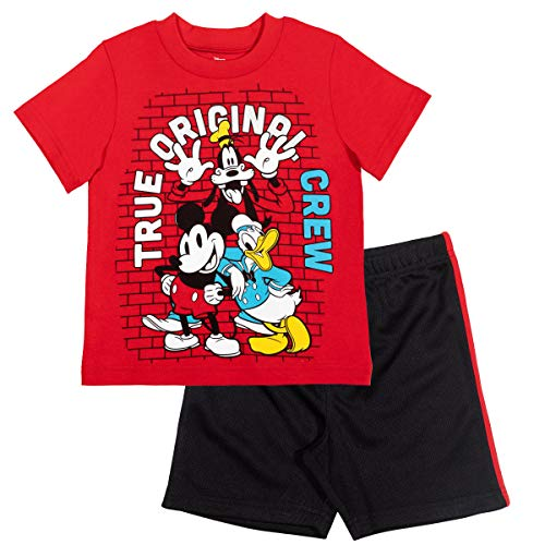 Disney Mickey Mouse Baby Boys T-Shirt Athletic Mesh Shorts Set Red/Black 18 Months