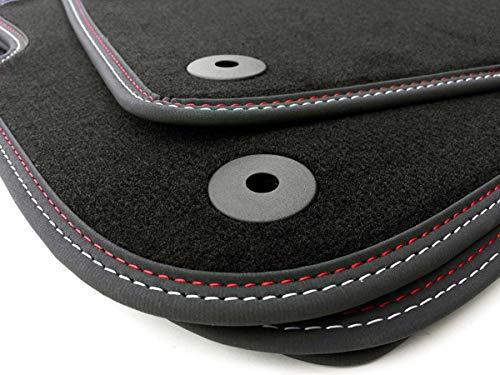 Fußmatten mit edler Doppelnaht Rot/Weiss Premium Autoteppich 4-teilig, mit Befestigungungen