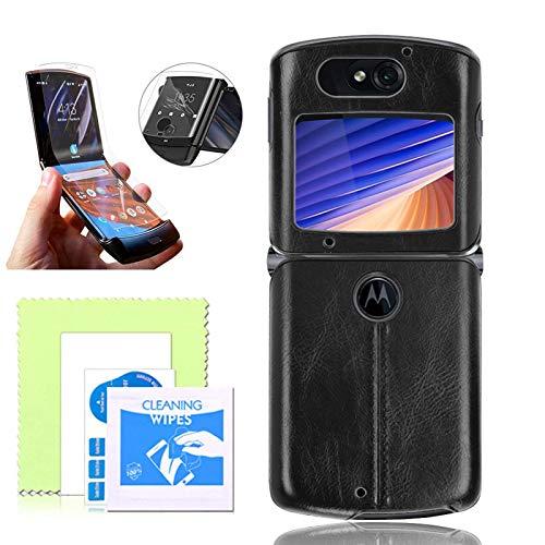 Dlovey Tasche Für Motorola Razr 5G 2020, Stilvolle PU-Leder-Flip-Hülle Mit Bildschirmschutzfolie, Klappbare Screen-Flip-Shell Kompatibel Mit Motorola Razr 5G,Schwarz