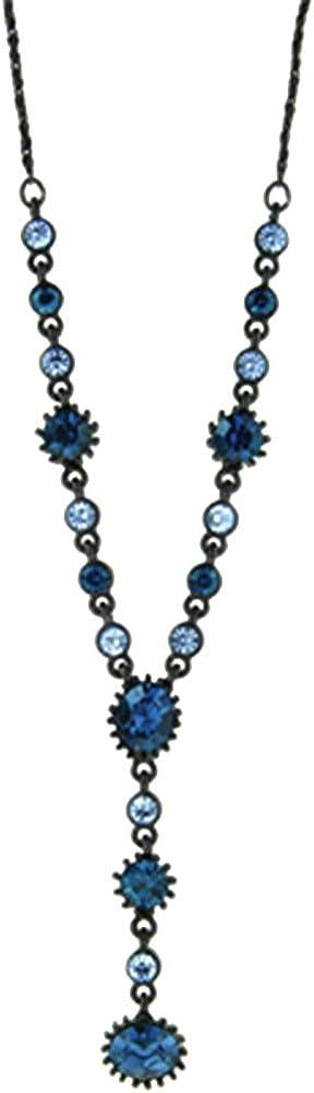 2028 Jewelry Black-Tone Blue Y Necklace 16-19 Inch Adjustable