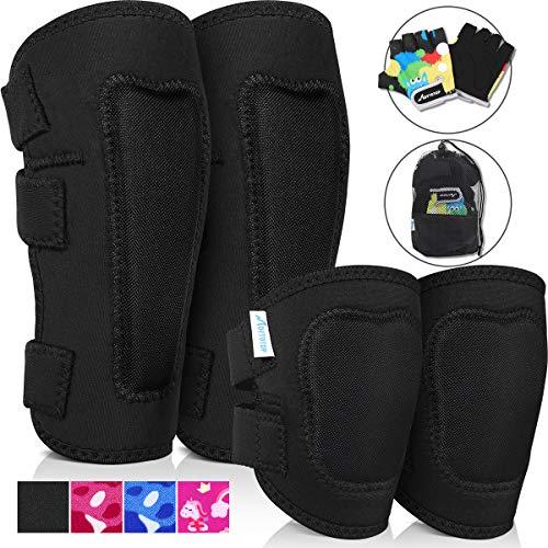 MOVTOTOP Knieschützer für Kinder, Kinder Knie- und Ellbogenschützer mit Handschuhen - Verstärkte Nähte, Kleinkind-Sportschutzausrüstung mit Netztasche für KinderMittel (4-8 Jahre)
