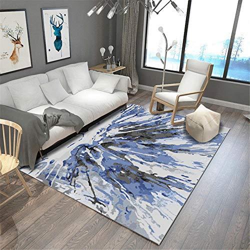Alfombra Fina,Alfombra Azul, Piso Antideslizante, fácil de aspirar, Alfombra antifatiga ,alfombras Pasillo Modernas -Azul_120x160cm