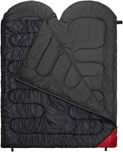2 Personen Doppelschlafsack Companion in Komfortgröße 220 x 160 cm Farbe Schwarz
