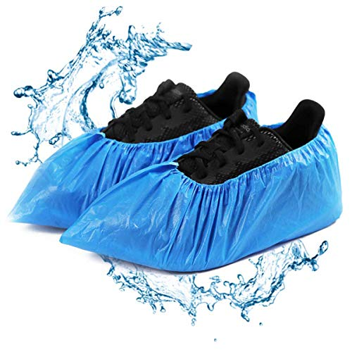 Shoe Covers Disposable - 100 Pack (50 Pairs) Boot & Shoe Covers Waterproof Slip Resistant Shoe Booties (Large Size - Fit US Men's 11 & US Women's 12.5)