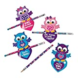 Fun Express - Valentine Owl Cards with Owl Pencil for Valentine's Day - Stationery - Cards - Note Cards - Valentine's Day - 24 Pieces