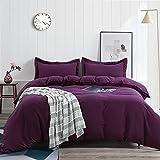 TEKAMON All Season 3 Piece Duvet Cover Set, Super Soft Breathable 100% Brushed Microfiber Premium Bedding Set- 1 Comforter Cover with Zipper Closure+2 Pillow Shams (Full, Purple)