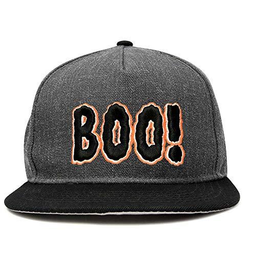 DALIX Boo! Halloween Hat Mens Womens Flat Bill Snapback Cap in Black Dark Gray