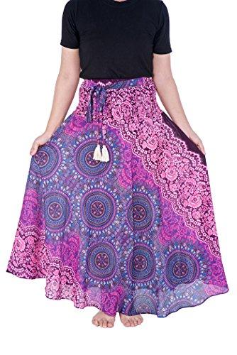 Lannaclothesdesign Damen Langer Maxirock Bohemian Zigeunerkleid Hippie Style Kleidung - Violett - Länge 37' S/M (Größe)