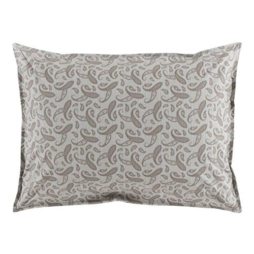 Essix - Taie d'oreiller Réversible Pile ou Face Percale de Coton Ardoise 50 x 75 cm