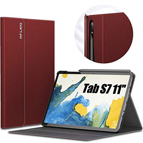 INFILAND Hülle für Samsung Galaxy Tab S7 11 2020, Hochwertige mit Mehreren Winkeln Schutzhülle Tasche für Samsung Galaxy Tab S7 11 (T870/T875) 2020, Auto Schlaf/Wach, Rotwein