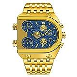 SunnyLou Relojes De Cuarzo Reloj Moda Área De Tres Veces Calendario Cinturón De Acero Deportes Mesa De Cuarzo Hombre Reloj De Hombre (Color : Golden Blue Face)